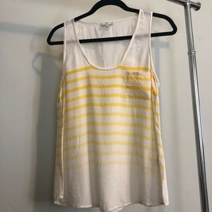 JOIE silk top - white and yellow.